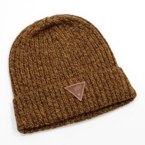 Lucky Brand Brown Wooly Knit Cuffed Beanie Hat NWT